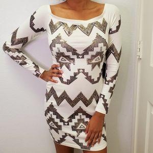 Express Bodycon Sequin White Dress